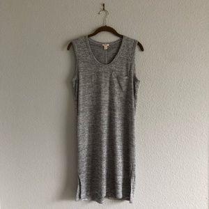 J. Crew Factory Stripe Heather Grey Midi Dress